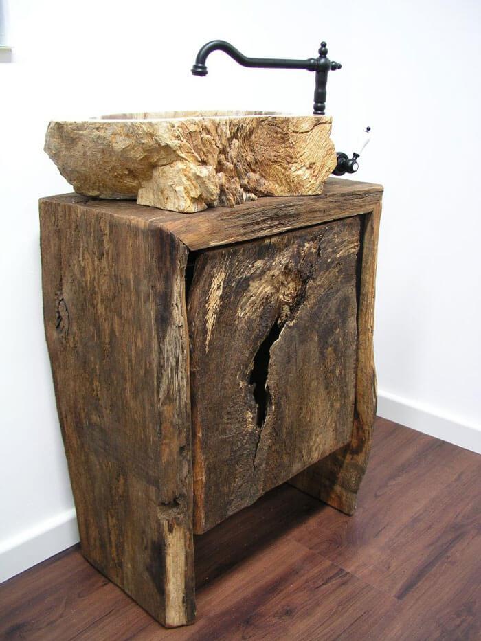 Badezimmer Waschtisch-Unterschrank rustikal aus Altholz ... | {Badezimmer altholz 77}
