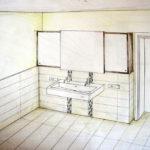 Entwurf Badschrank aus Wenge mit Spiegelfront