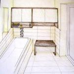Planung Badschrank und Bank mit Schublade aus Wenge