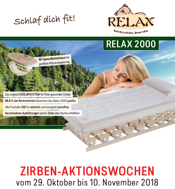 Zirben Aktionswochen Mit Relax 2000 Tischlerei Wolff In Heeslingen